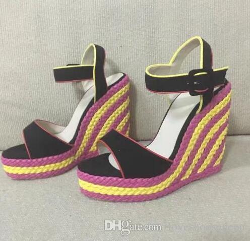 2017 prezzo di fabbrica estate nuove scarpe colorate annodati sandali con zeppa donne open toe altezza crescente sandalo piattaforma donne tacchi