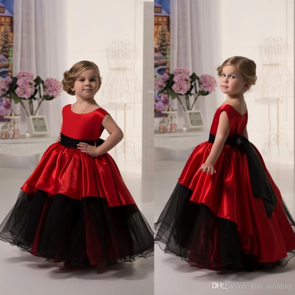 Cute Red And Black Long Graduation Gown Children A Line Sleeveless