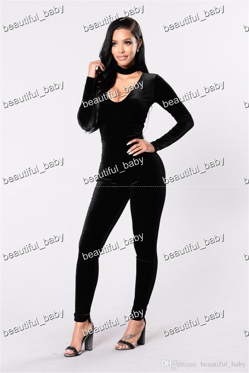 a6aba84cc5e6 ... High Quality Velvet Jumpsuit Women Long Sleeve Bodycon Romper Overall  2017 Winter Autumn Women Sexy V