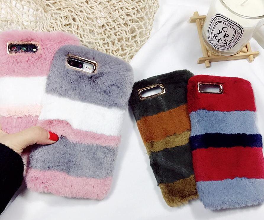 Iphone X 8 7 6 6S Plus için kış Sıcak Tavşan Kabarık Renkli DURUM yumuşak Kürk Telefon TPU PC kapak Kılıf