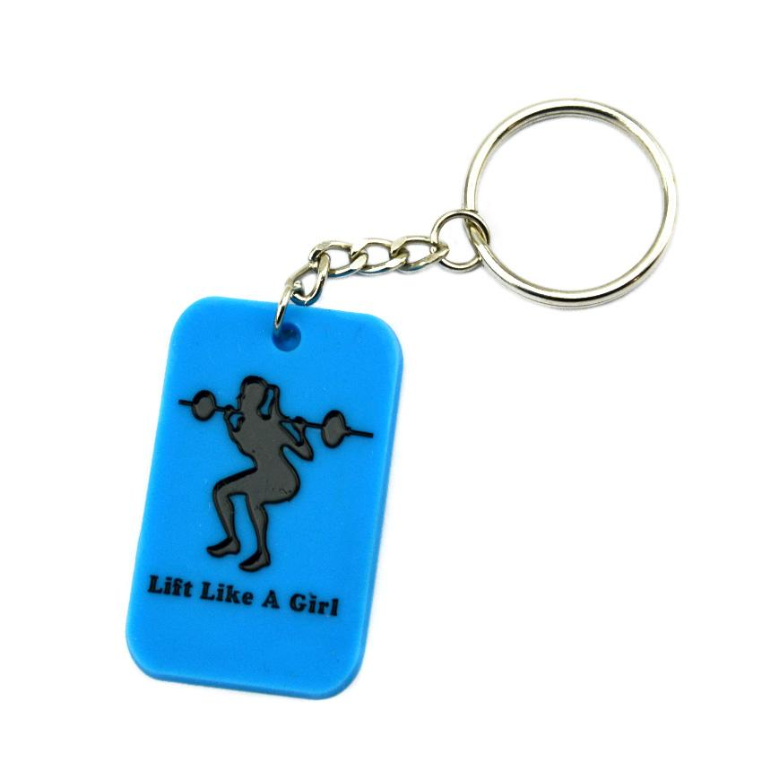 Debossed Lift Like A Girl Silicone Dog Tag Keychain Perfect To Use In Any Benefits Gift