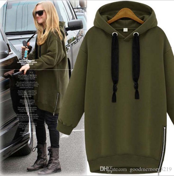 0de0cba12c6 Arm Green New Winter Autumn Loose Hooded Jacket Plus Size Thick Velvet Long  Sleeve Sweatshirt Korean Style Hoodies Hoodies   Sweatshirts Online with ...