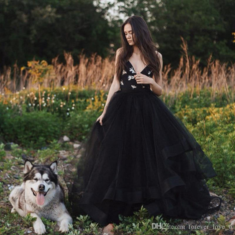 Discount Gothic Country Style Black Wedding Dress A Line Spaghetti ...