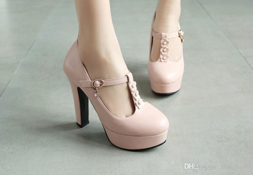 Frühling, Sommer, die neuen super High Heels dick mit flachen Mund einzelne Schuhe weibliche wasserdichte Taiwan Blume t Schnalle mit der Prinzessin