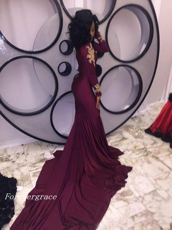 Moda Kadınlar Şarap Kırmızı Balo Elbise Seksi Güney Afrika Altın Aplikler Bordo Uzun Örgün Akşam Parti Kıyafeti Custom Made Artı Boyutu