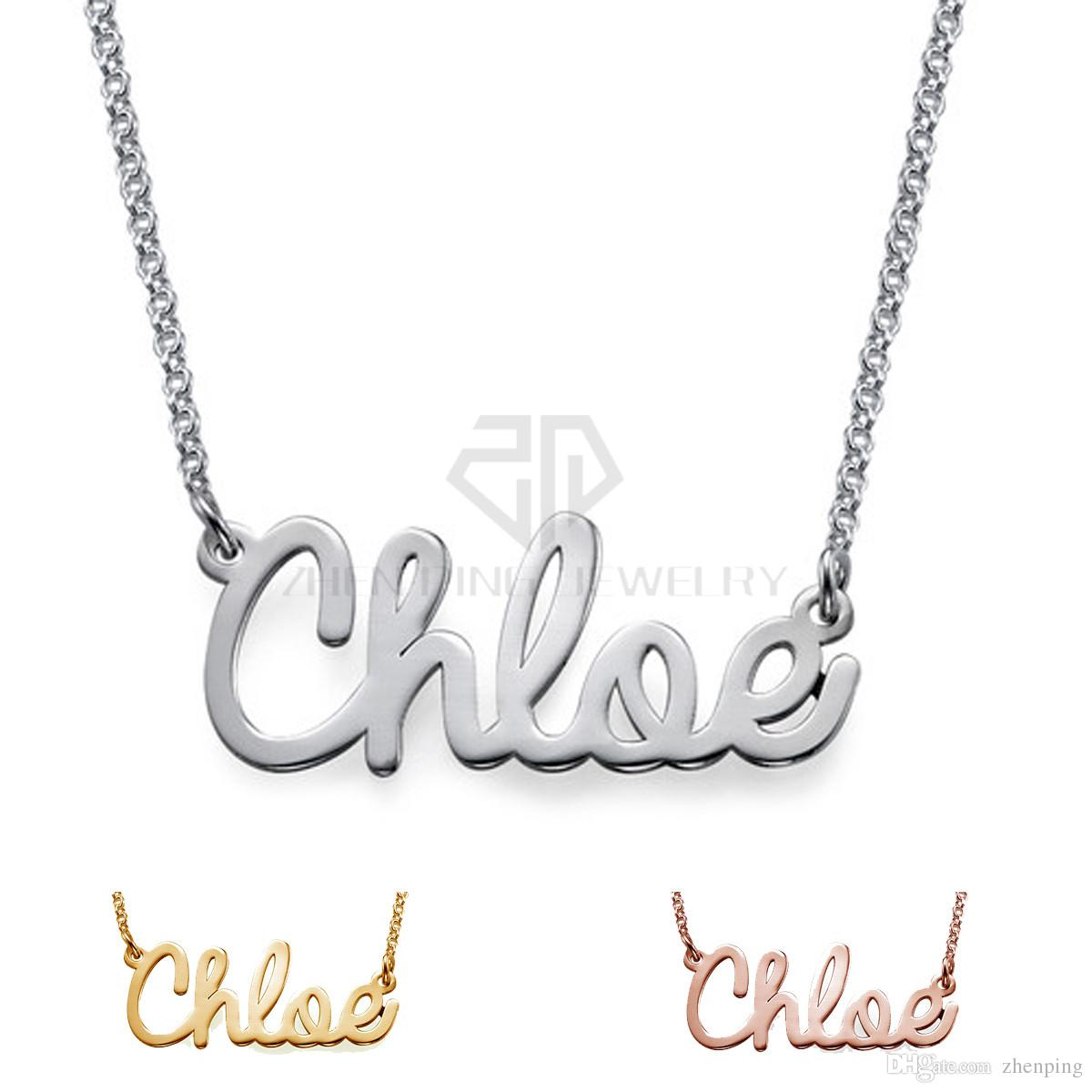 Free Shipping 316L stainless steel high quality Personalize Cursive name necklace Customized Nameplate Necklace with black bag