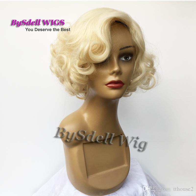 Wigiss أنثى مارلين مونرو الباروكة تأثيري الشباب البهجة ضوء شقراء اللون قصيرة متموجة حزب الباروكات كانيكالون custome الباروكات الاصطناعية