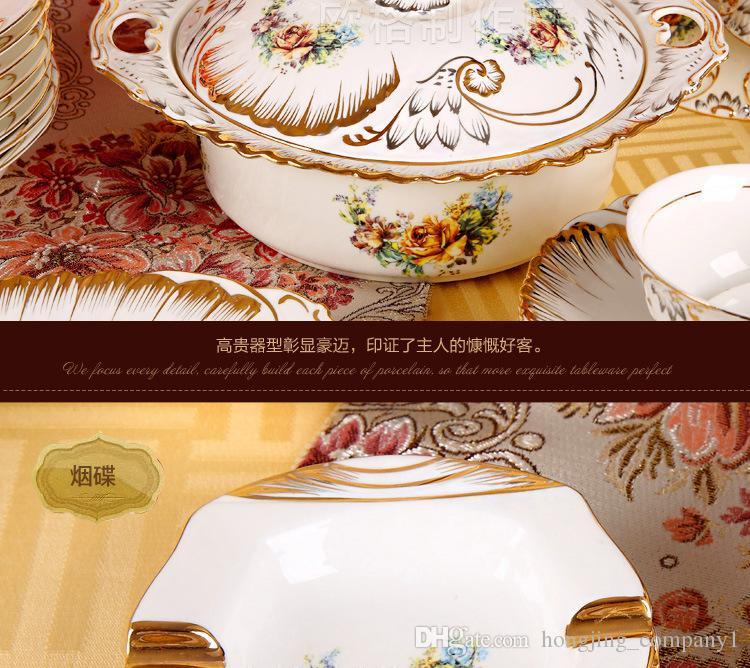 Juegos de vajilla de porcelana de hueso respetuosos con el medio ambiente de cerámica Flor de borde dorado Cocina Comedor Bar Hogar Jardín Tazón Juegos de placas