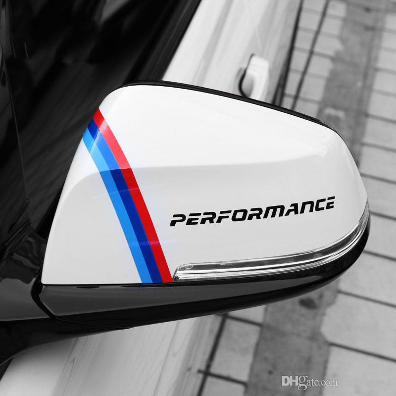 Car Styling M Color Stripe Performance Adesivo specchietto retrovisore BMW 1 3 5 7 Serie X1 X3 X5 X6 M3 M5
