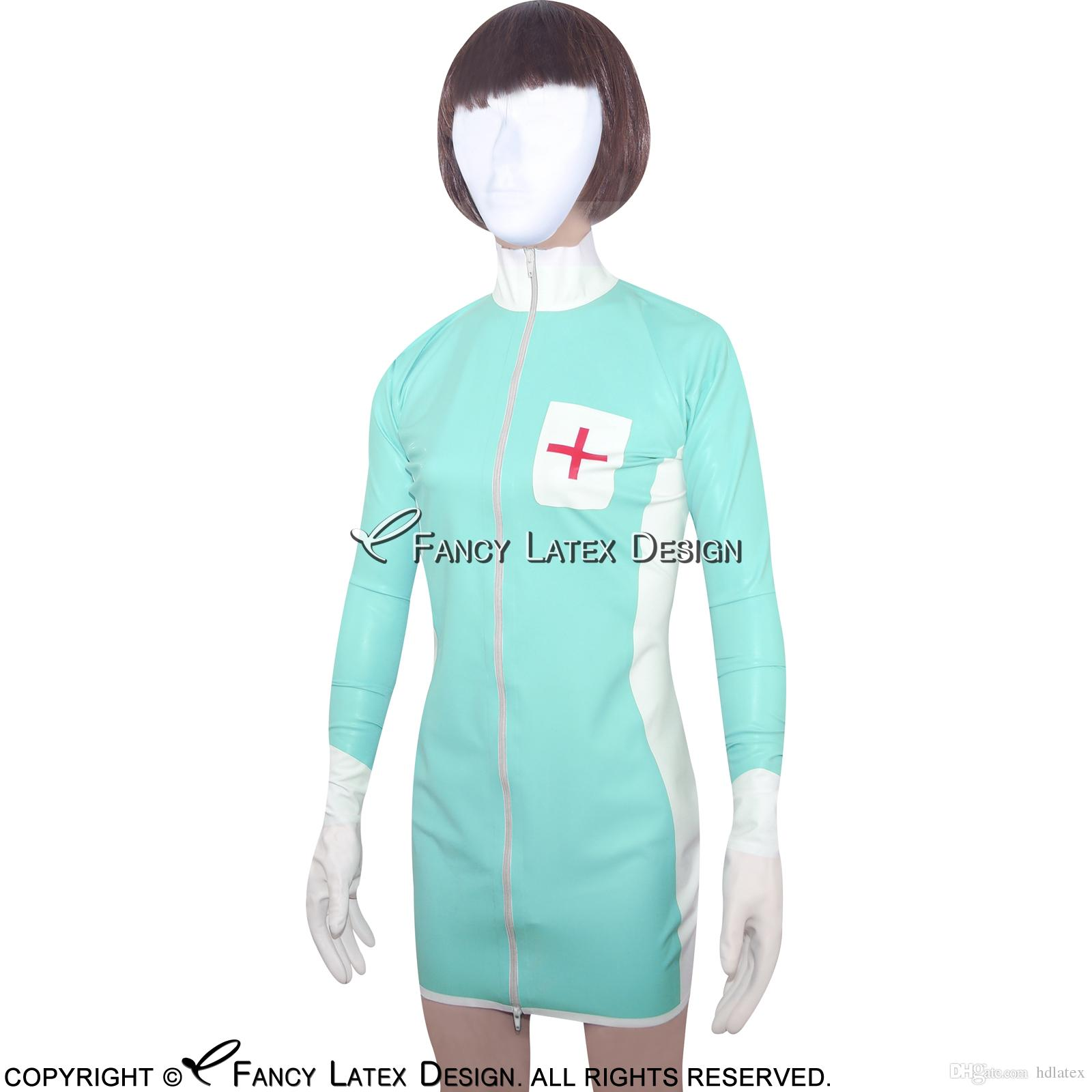 Jade Green Sexy Fetish Latex Nurse Uniform Sets Rubber Dress With Cross Decoration Zipper At Front Lyq 0010 Halloween Themes For Adults Halloween Themed