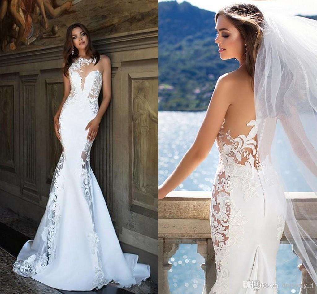 52b809aa266b 2017 Wedding Dresses Robe De Marriage Button Back Sweep Train Mermaid  Bridal Gowns With Appliqued Elegant Wedding Gowns Mermaid Wedding Dresses  Long Wedding ...