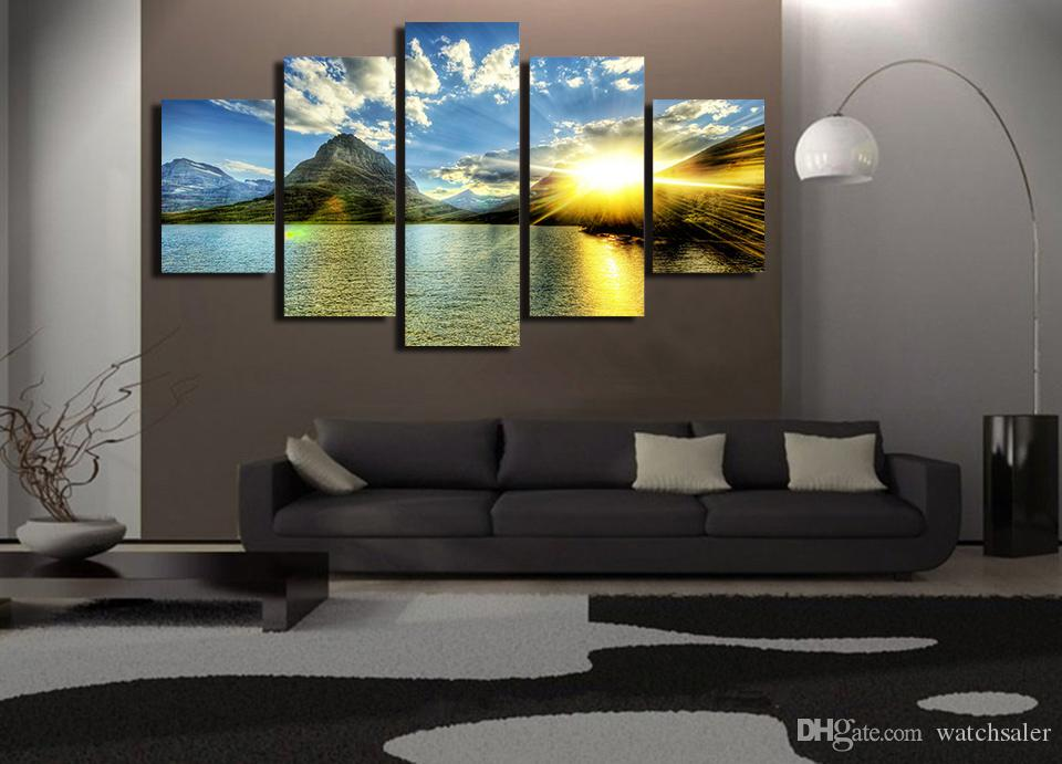 HD Printed Sunset Lake Mountain Painting Canvas Print room decor print poster picture canvas modern abstract