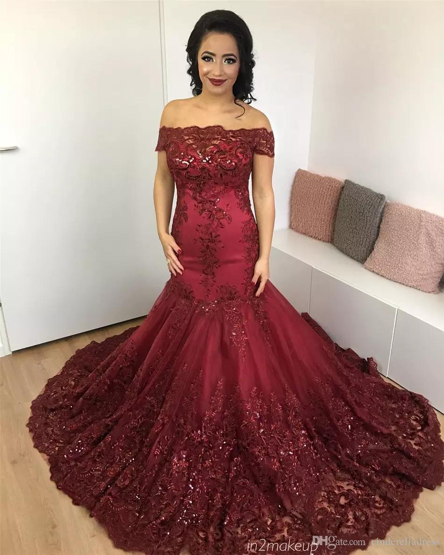 Gorgeous Burgundy sirena vestidos de noche 2017 árabe africano encaje vestido de fiesta apliques de lentejuelas corsé Back Court tren vestidos de noche