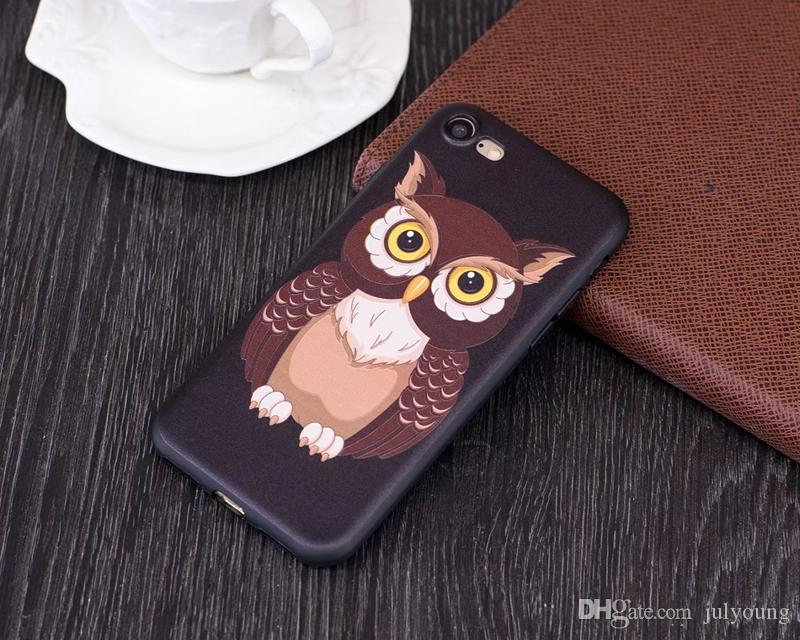 Soft TPU Case For Iphone 7 Plus 6 6S SE 5S 5S/Galaxy S8/Plus Embossed Frosted Flower Butterfly Owl Panda Cute Silicone Gel Rose Covers Skin