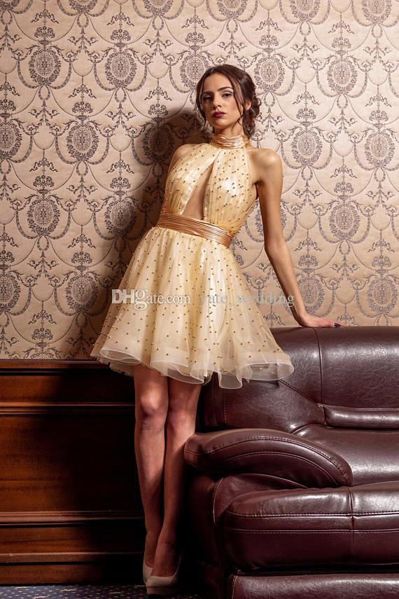 Gold Short Prom Dresses High Neck Halter Pleated Tulle Dance Evening Party Dresses Keyhole neckline Backless Cocktail Dresses With Pearls
