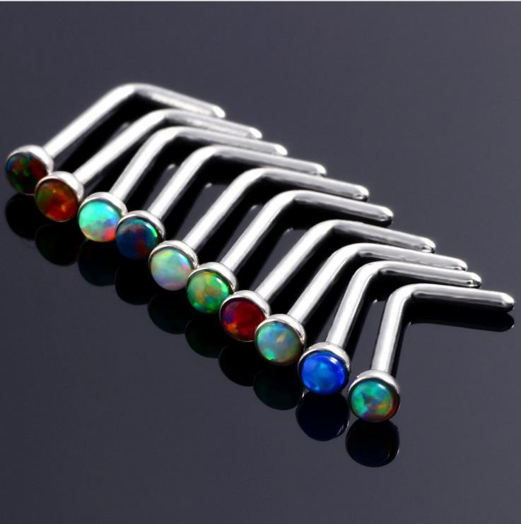 The new European style nose nail opal Jeweled lip nail body piercing jewelry Unisex Earrings
