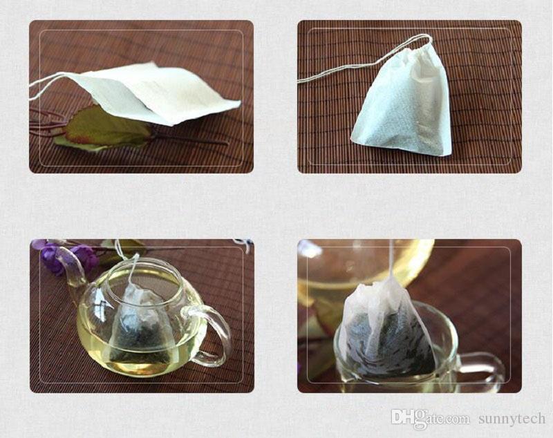 60 X 80mm Filtro De Papel De Polpa De Madeira Descartável Filtro De Coador De Chá Saco Único Cordão Cura Selo Sacos De Chá Sem água sanitária Ir Verde ZA1419