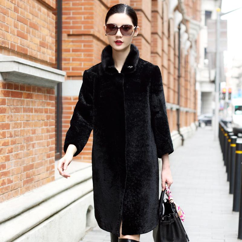 Oycp 2017 Ladies' Fashion Mink Fur Collar Sheared Sheep Fur ...