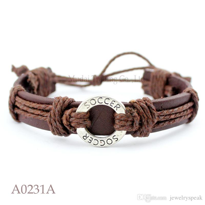 Customizable ANTIQUE SILVER SOCCER CHARM Adjustable Leather Cuff Bracelet for Men & Women Friendship Casual Jewelry