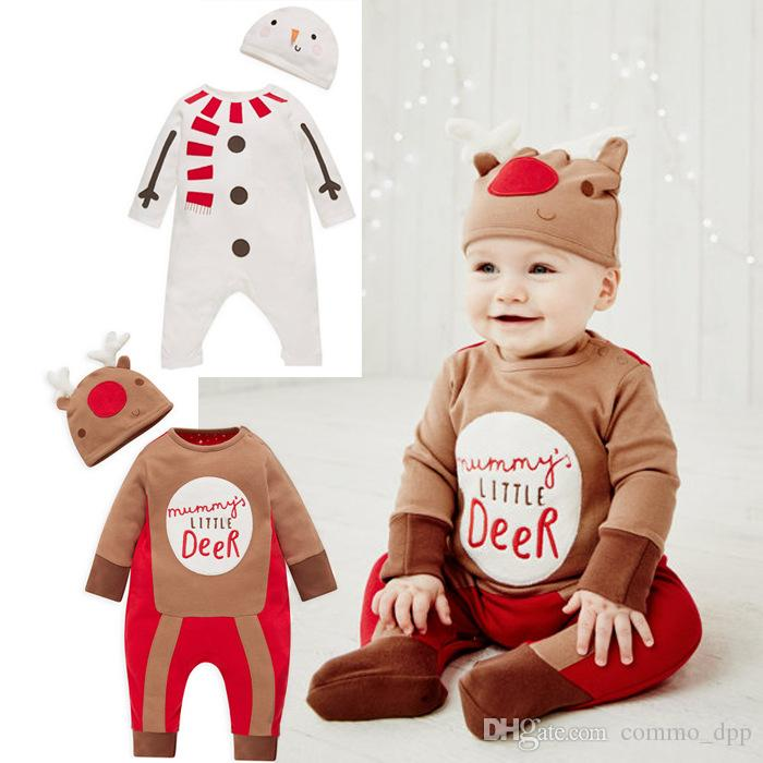 e18120060e4a 2018 2016 Baby Christmas Rompers Outfit Boys Cartoon Long Sleeve Jumpsuits  Hat Sets Children Snowman Elk Jumpsuits Climb Clothing From Commo dpp