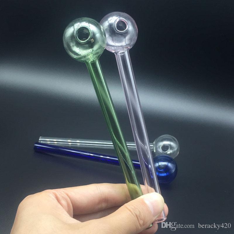 도매 6.0inch Pyrex 유리 오일 버너 파이프 물 담뱃대 3 색 Handy 핸드 워터 파이프 담배 흡연 액세서리