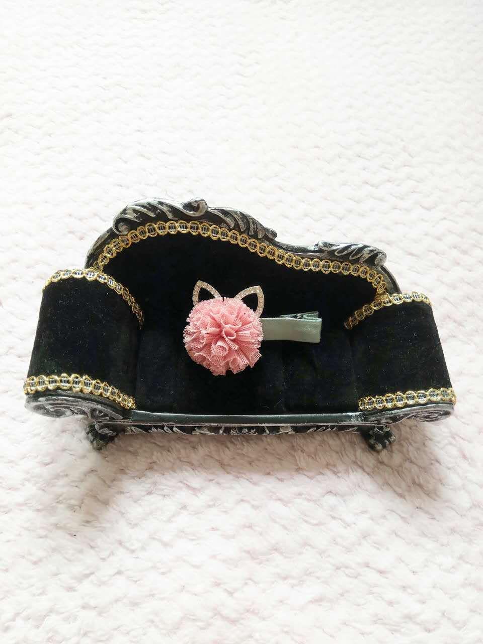 NEW kids diamond rabbit ear bud silk ball hair clips girls cartoon clips four colors shipping free