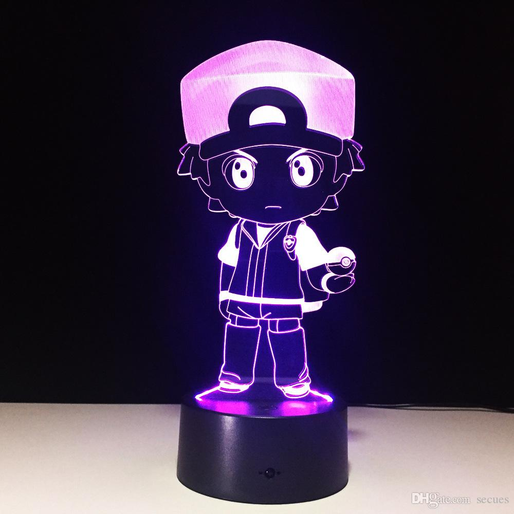 3D Police Boy Illusion Night Lamp 7 RGB luces coloridas USB con AA Battery Bin Touch Button Dropshipping al por mayor