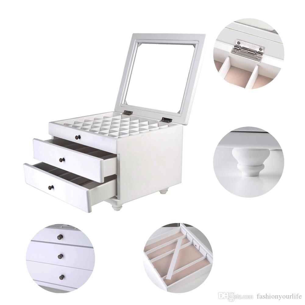 Jewelry Box Makeup Organizer Display Jewelry Case with Top Glass