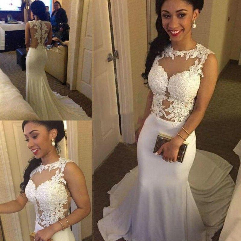 Cheap White Ivory Wedding Dresses Mermaid Lace Appliques: White Lace Appliques Mermaid Wedding Dresses 2017 Sheer