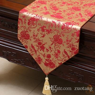 Short Length Flower Birds Table Runner Fashion Luxury Decor Coffee Table Cloth High End Silk Brocade Dining Table Protection Pads 150x33cm