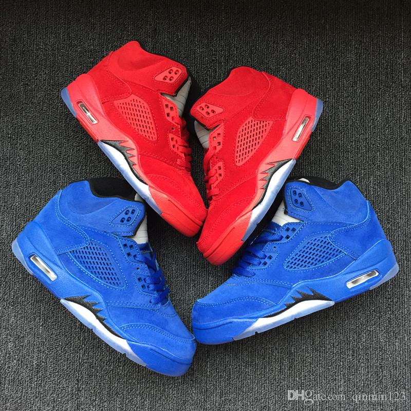 san francisco e5173 7bbe9 With box New wholesale 5 blue suede RED Children Basketball Shoes baby V 5s  Sneakers kids Sports Running girl trainers 11C-3Y 28-35