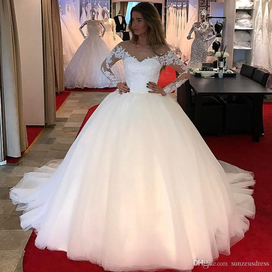 03c1660b5 Ball Gown Sheer Tulle Neck Long Sleeve Wedding Dresses With Appliques Lace Sparkle  Sequins Simple Puffy Long Bridal Gowns Court Train Wedding Shop White ...
