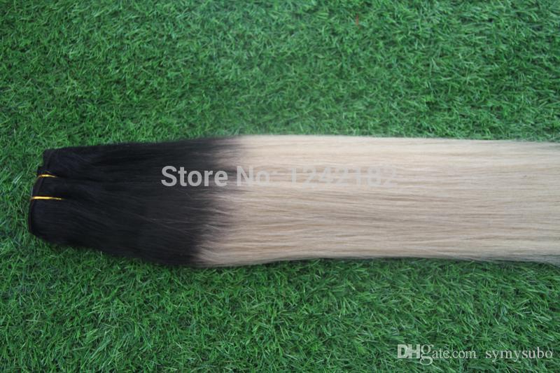 Новый бразильский Ombre Hair 1b / платина Блондинка Human Har Прямой Weave Дешевые 613 Ombre наращивание волос Смешанные 10 '' - 30 ''