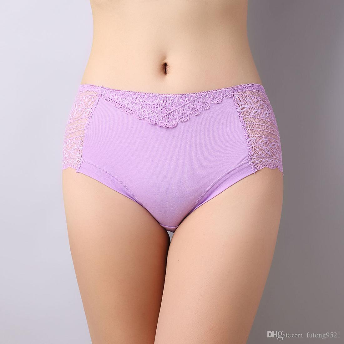 Pure Color Middle Waist Panties Cotton Briefs Women Sexy Lace Underwear Large Size Undies Seamless Hiphuggers for Female