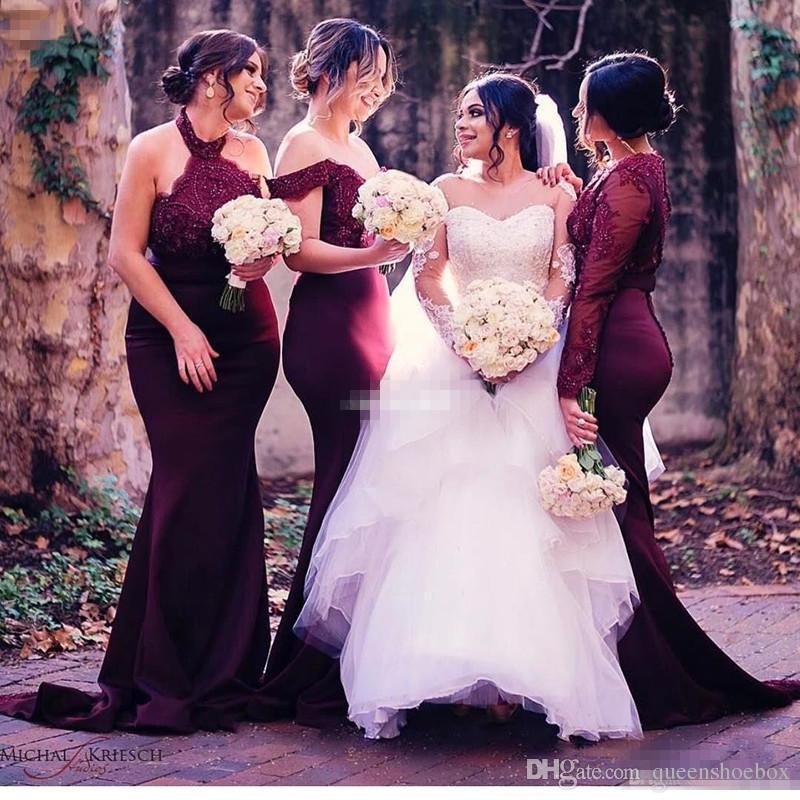 Por encargo Borgoña País Boda Formal Vestidos de dama de honor Halter encaje Sirena manga larga mal emparejada tallas grandes vestidos de dama 2017