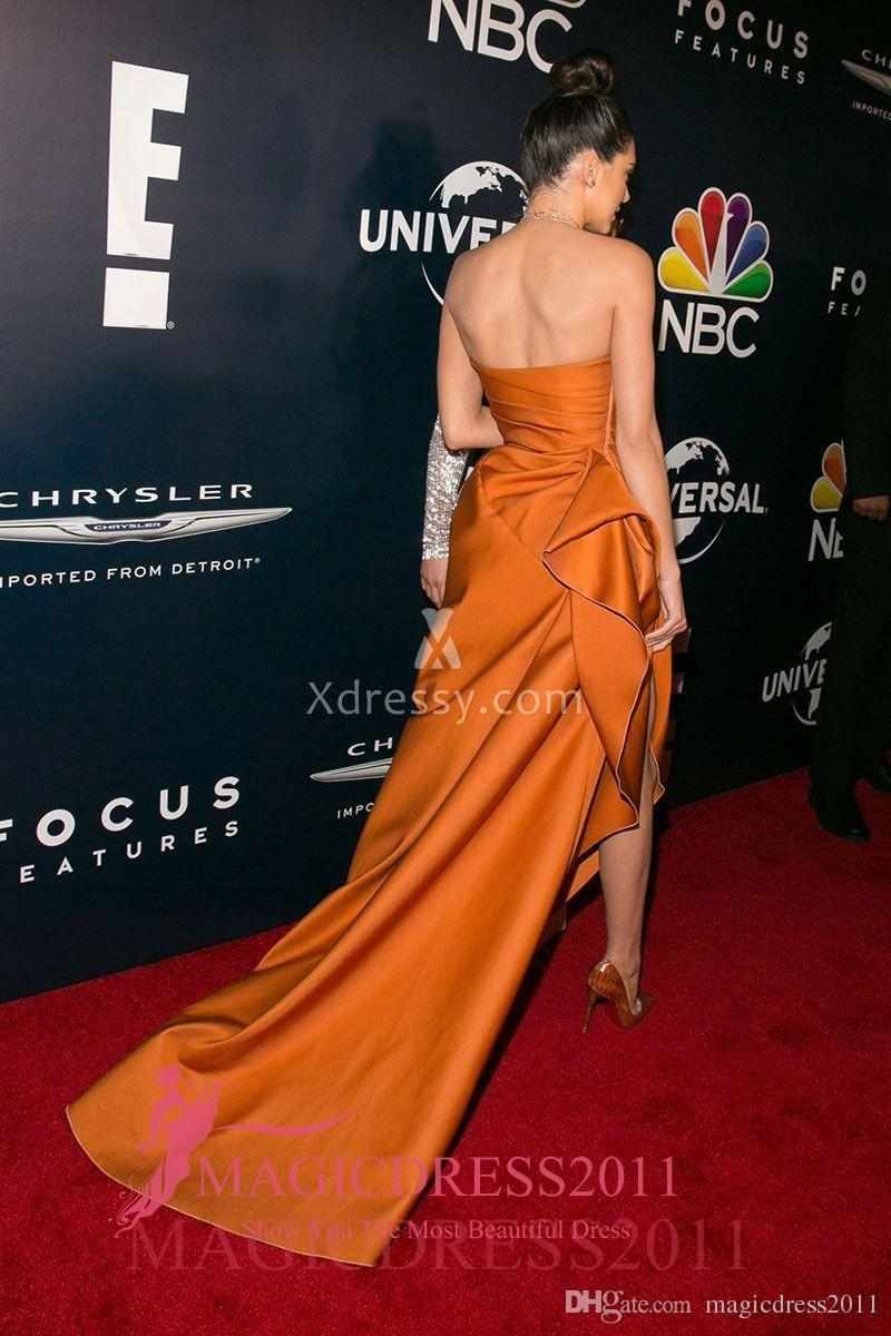 Kendall Jenner Sexy Ouro Fenda Amarelo Vestidos de Baile de Formatura Globos de Ouro Após A Festa 2019 A Linha de Vestidos de Celebridades Formais Sem Alças