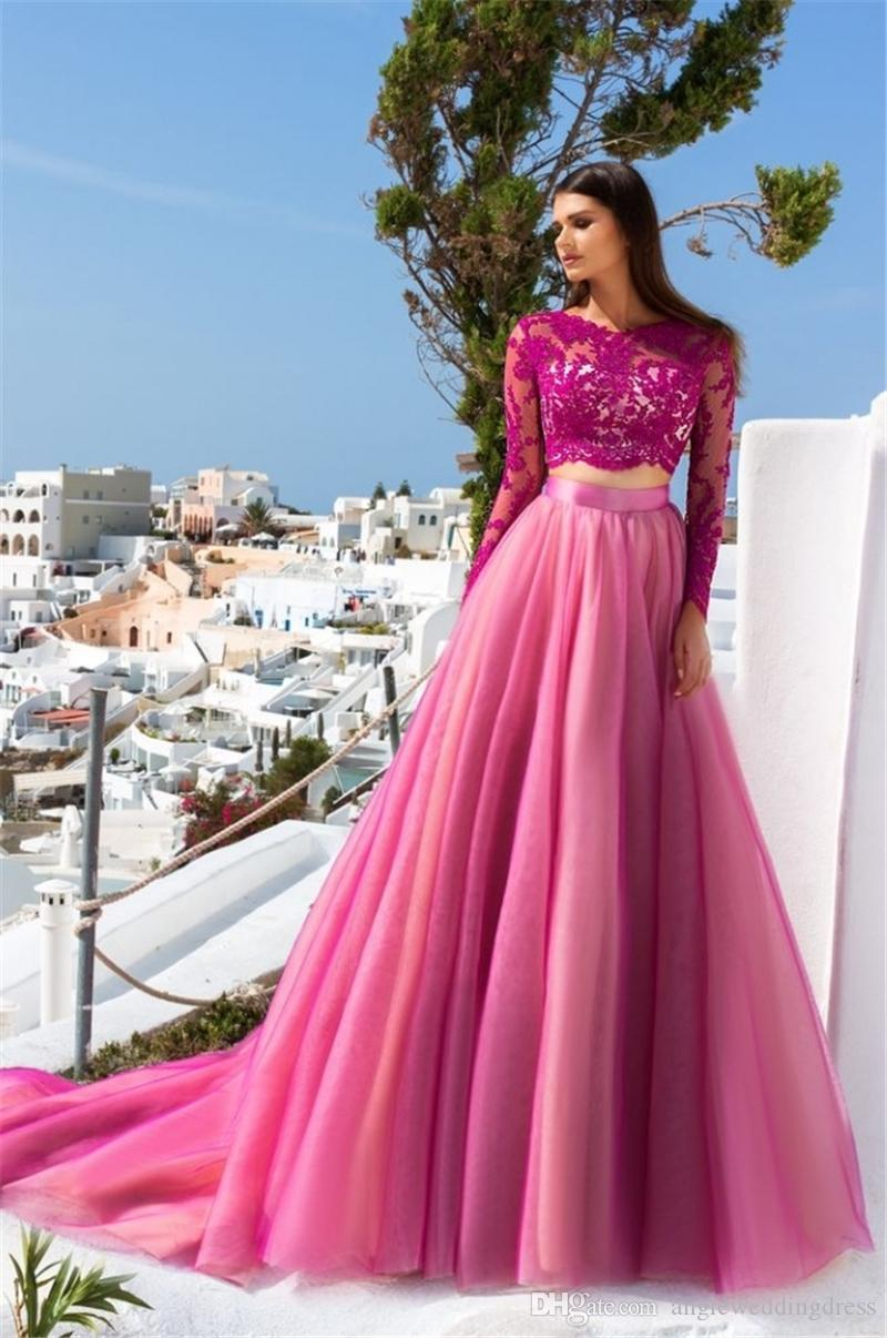 New Arrival 2017 Two Pieces Evening Dresses Long Tulle Applique ...