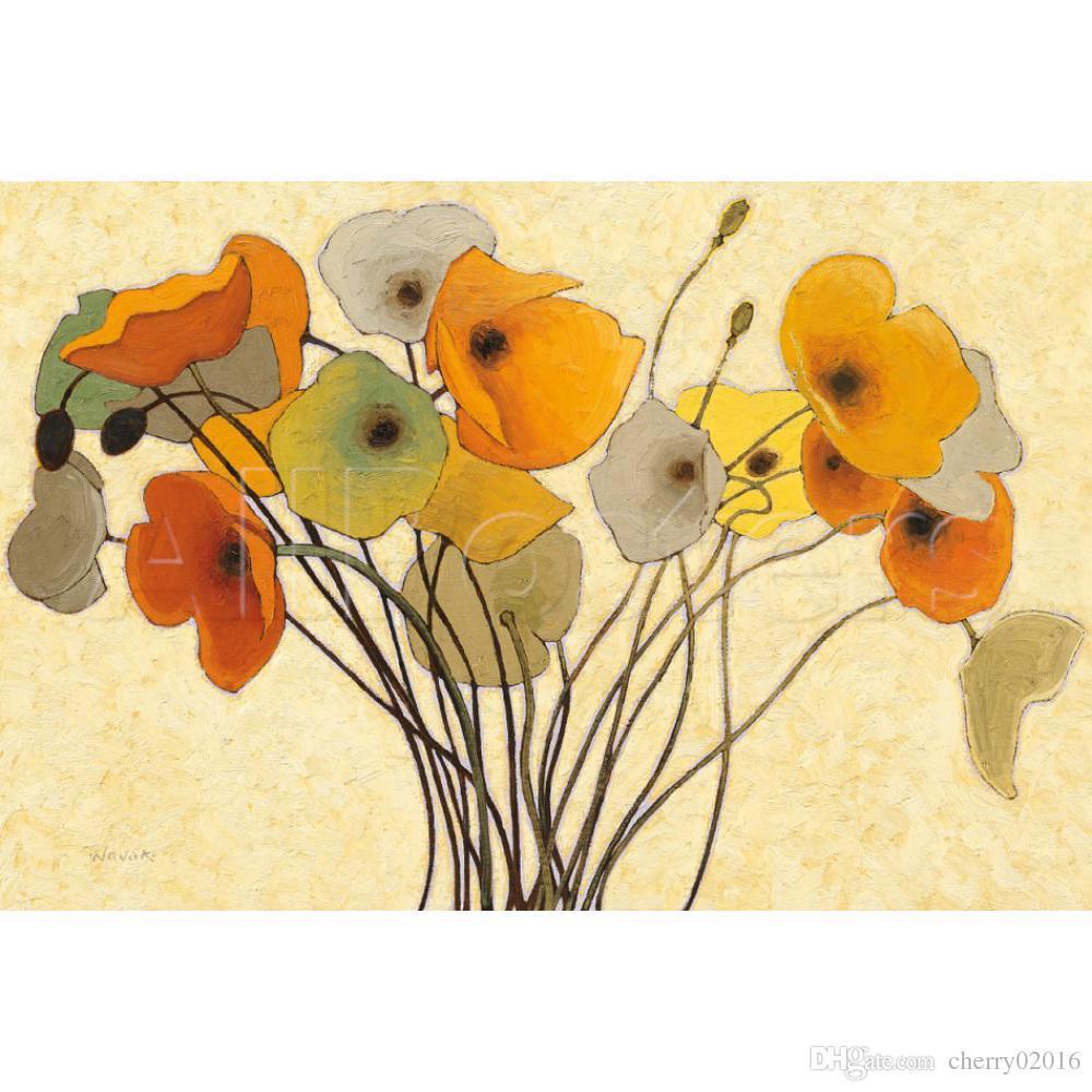 2018 Handmade Shirley Novak Paintings Pumpkin Poppies I Modern Art ...