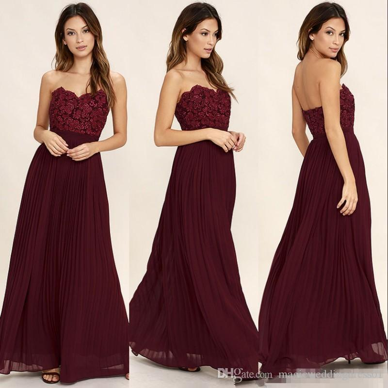 9212f8cd6d87 Sweetheart Lace Chiffon Burgundy Long Bridesmaid Dresses 2018 Vintage Cheap  Holiday Bohemian Country Wedding Party Guest Junior Gowns Mismatched  Bridesmaid ...