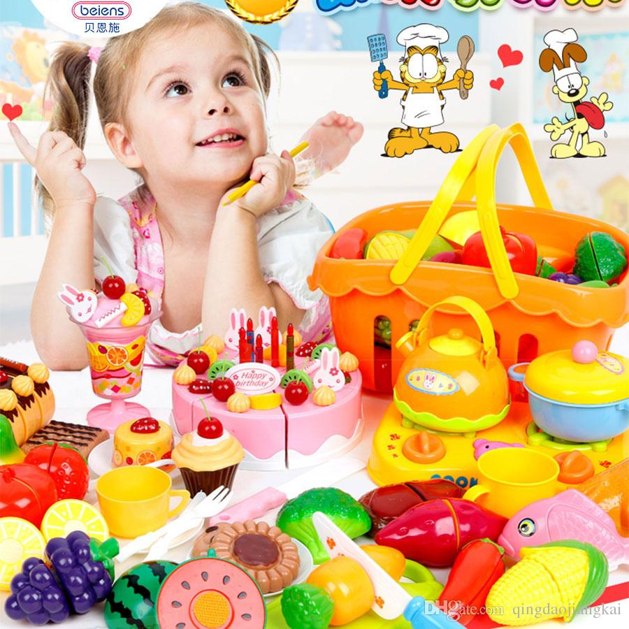 Beiens 37pcs Set Plastic Kitchen Food Fruit Vegetable Cutting Kids Pretend Play Educational Toy Cook Cosplay Mini Food Toys