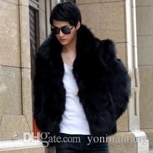 Abrigo de piel de zorro de imitación para hombre de otoño Marca linda Hombres elegantes Abrigo de piel sintética a prueba de agua Cuello boca abajo Ropa de abrigo Color sólido