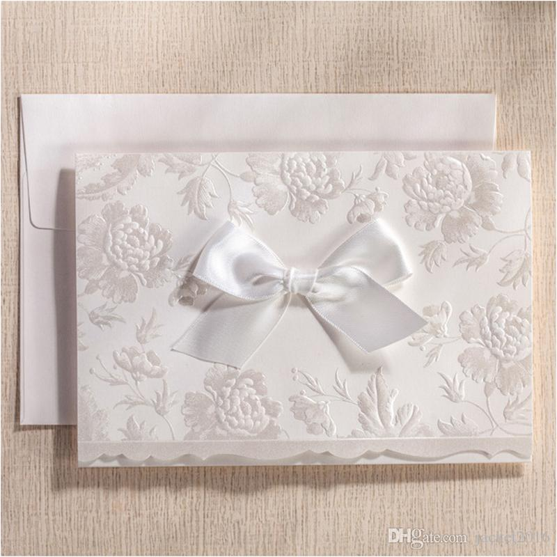 Luxury Pearl White Wedding Invitations Embossed Flower Paper Bridal ...