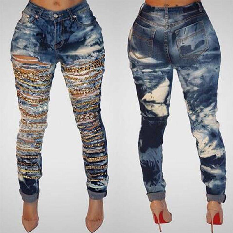fd331eff4 Corrente da caverna buraco rasgado jeans para as mulheres lavadas jeans  skinny mulher nova denim plus size cintura alta destruído senhoras calças  de brim ...