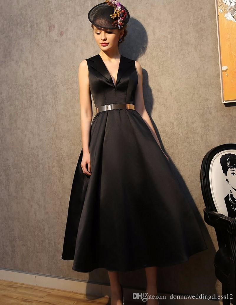 Vestido De Noiva Elegant Black Prom Dresses 2017 Ball Gown V Neck Tea  Length Black Evening Party Gowns New Summer Grils Dress Pregnant Prom  Dresses Prom ... c26472da8f8b