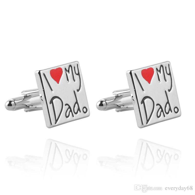 2017 cufflinks Father's Day gift i love dad love letter French cufflinks cuff for father of father's day
