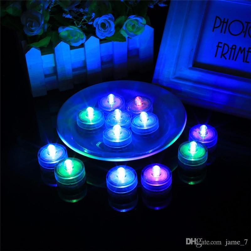 Luces subacuáticas Luces LED de velas Luces sumergibles de té Luces sumergibles Velas impermeables Luces subacuáticas Batería Impermeable Luz de noche