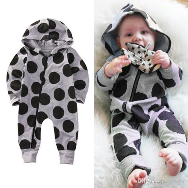 631de86d0b2c6 Baby Boys Girl Boutique Clothes Black Dot Romper Kids Costume Overall Grey  Infant Bodysuit Toddler Legging Warmer Jumpsuit Hooded