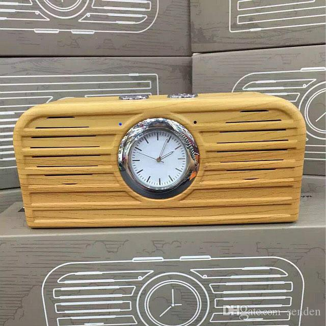 Wooden Bluetooth Speaker with watch Clock, Wood portable wireless subwoofer support TF card play,Aux-in,Clock,Hands-free Mic Phone subwoofer