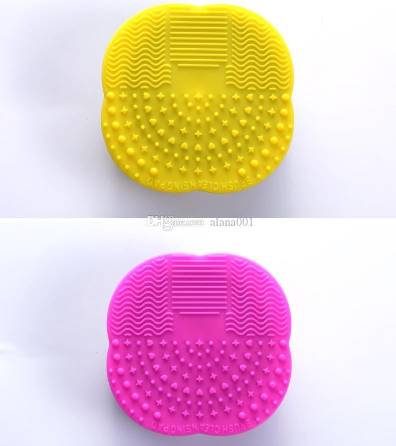 Оптовая силиконовые макияж кисти косметические кисти очиститель очистки скруббер Совет мат стиральная инструменты Pad ручной инструмент 10*10*3 см