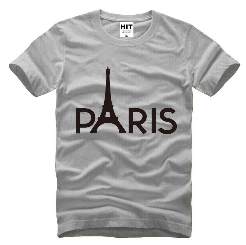 Creative Paris Eiffel Tower Printed Mens Men T Shirt T Shirt Fashion 2017  New Short Sleeve O Neck Cotton Tshirt Tee White T Shirts With Designs Cloth  T ... 5fc78fdc9051